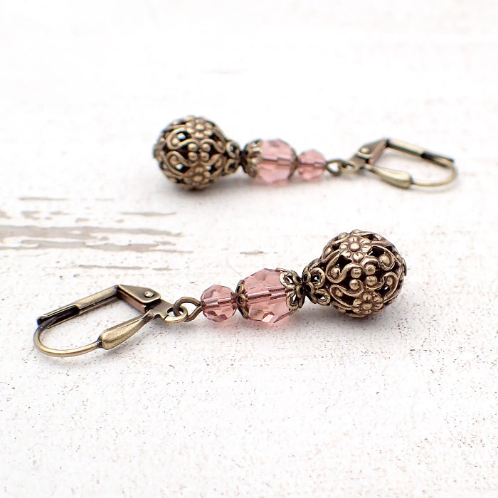 Blush Rose Swarovski Crystal Earrings with Floral Filigree Beads