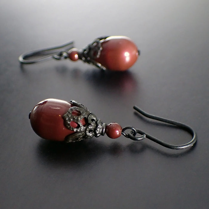 Victorian Gothic Style Wine Red Swarovski Pearl Teardrop Earrings