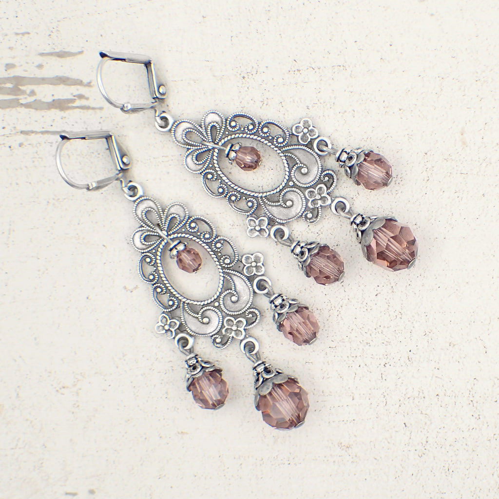 Blush Pink Victorian Style Chandelier Earrings with Swarovski Crystals and Antiqued Silver