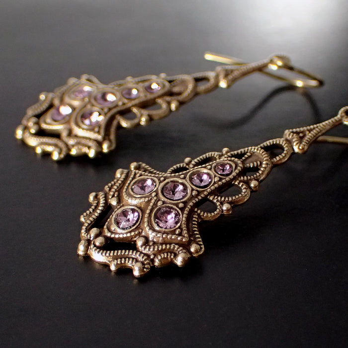 Antique Style Drop Earrings with Dusty Pink Swarovski Crystals