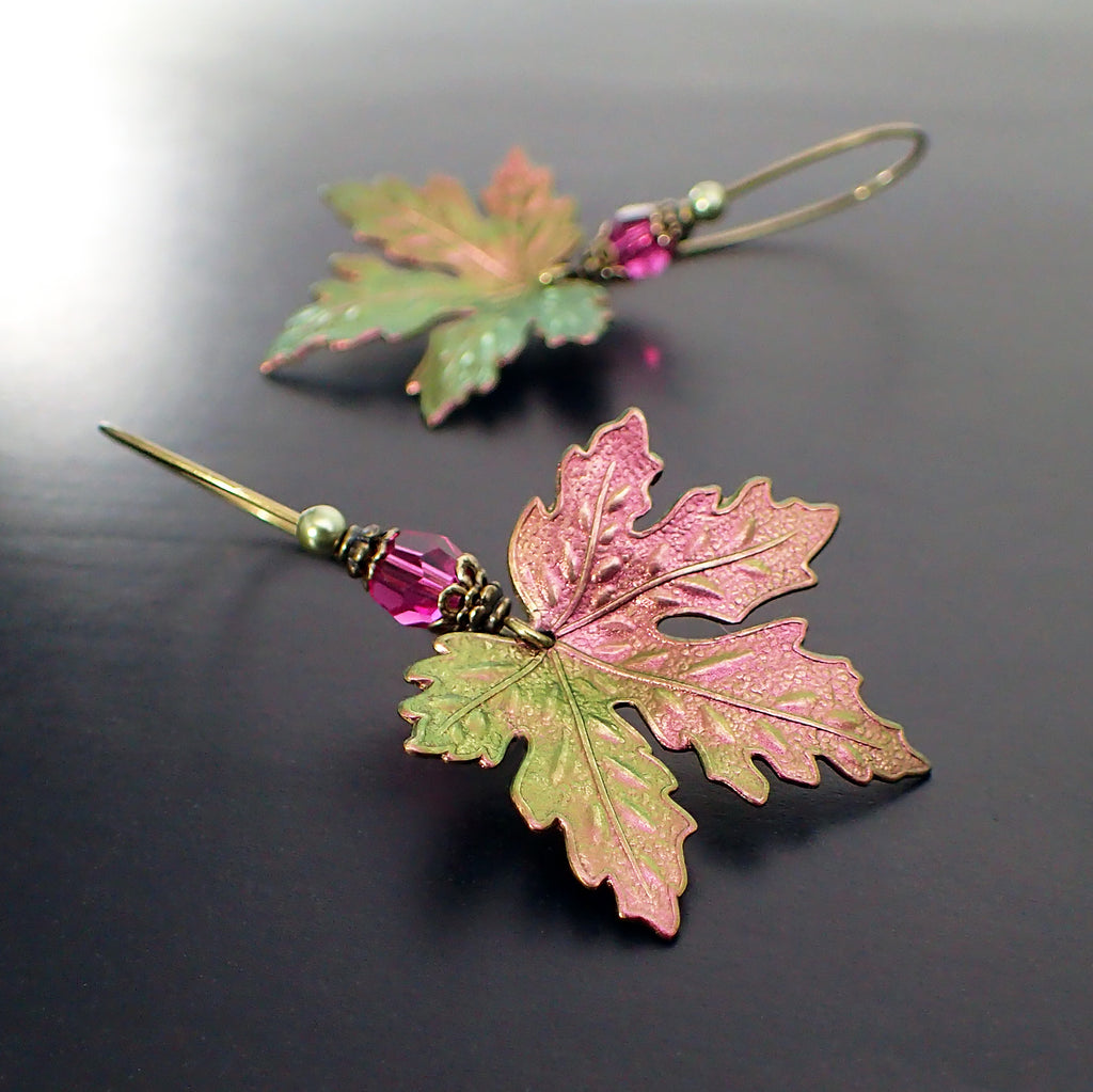Color Shifting Maple Leaf Earrings With Fuchsia Pink and Light Green Swarovski Crystals