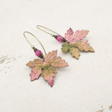 Color Shifting Maple Leaf Earrings With Fuchsia Pink and Light Green Crystals