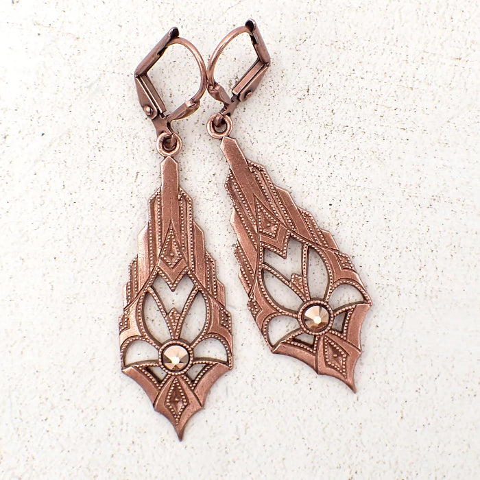 Dramatic Art Deco Earrings in Antiqued Copper with Swarovski Crystals