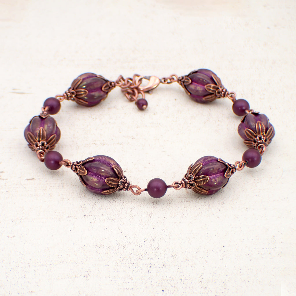 Artisan Czech Glass Purple Chunky Melon Bead Bracelet