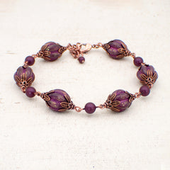 Artisan Czech Glass Chunky Melon Bead Bracelet with Elderberry Purple Swarovski Pearls and Antiqued Copper
