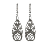 Vintage Style Floral Filigree Earrings in Antiqued Silver