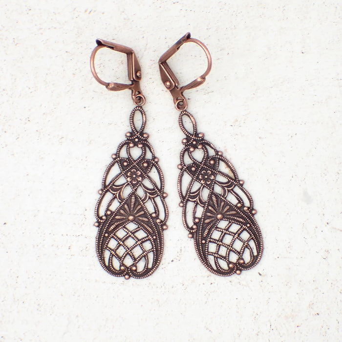 Vintage Style Floral Filigree Earrings in Antiqued Copper