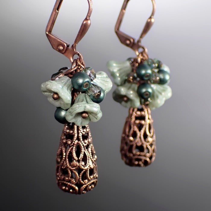 Teal Flower Cluster Earrings with Antiqued Copper Filigree