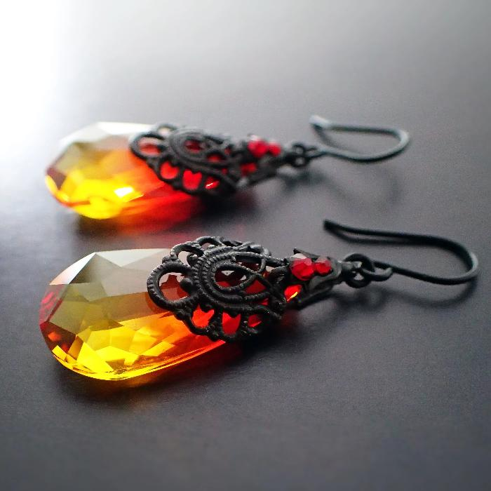 Fire Earrings with Antique Black Ox Filigree and Fire Opal Swarovski Crystal Pear Drops Red, Orange, and Yellow Gothic Black Metal