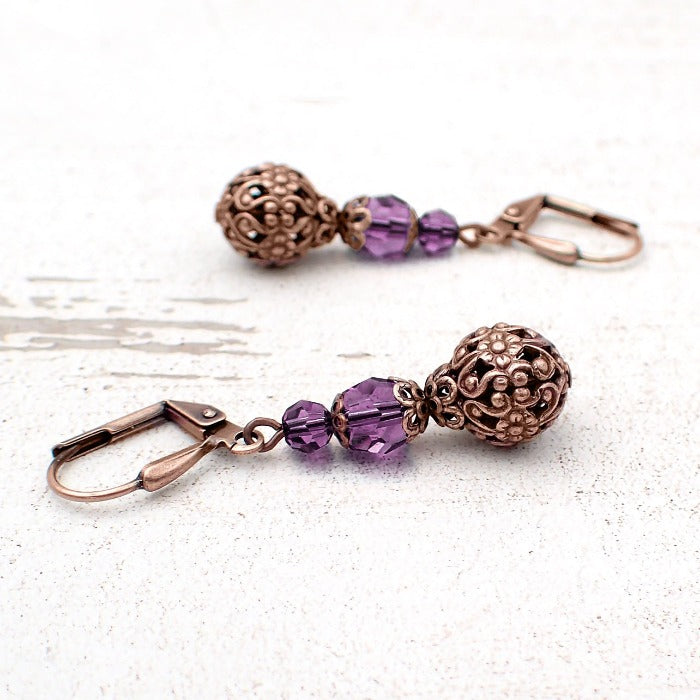 Amethyst Purple Crystal Earrings with Copper Floral Filigree Beads