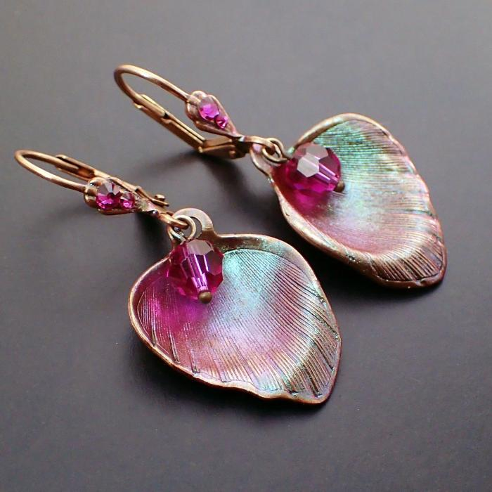 Shimmering Pink and Green Rose Flower Petal Lever Back Earrings with Fuchsia Swarovski Crystals and USA-made Antiqued Copper