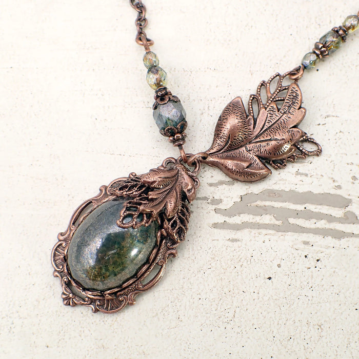 Woodland Green Cabochon Necklace in Antiqued Copper