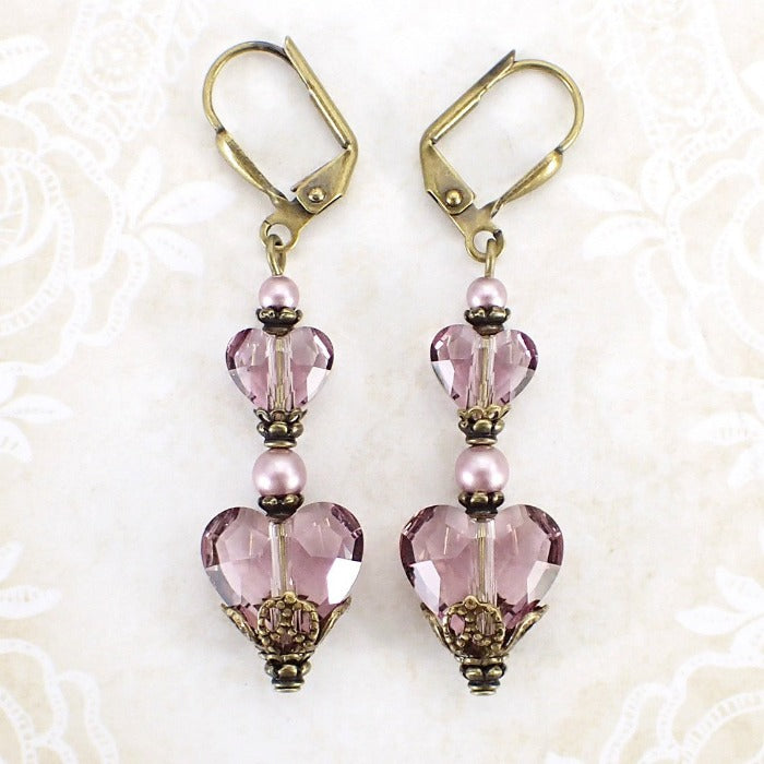 Antique Pink Swarovski Crystal Heart Earrings main view