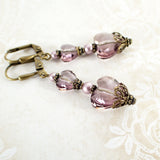 Antique Pink Swarovski Crystal Heart Earrings view 3