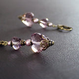Antique Pink Swarovski Crystal Heart Earrings view 2