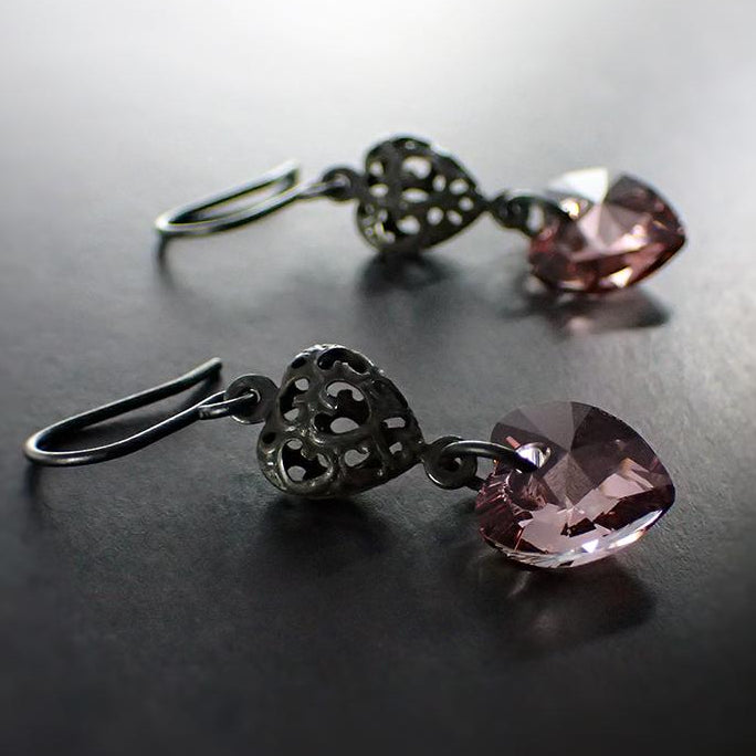 Antique Pink Crystal Heart Earrings with Black Metal