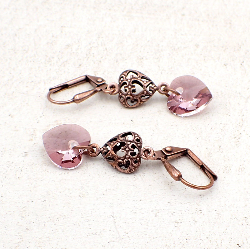 Antique Pink Crystal Heart Earrings