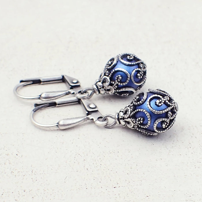 Bright Blue and Silver Caged Earrings with Swarovski Pearls