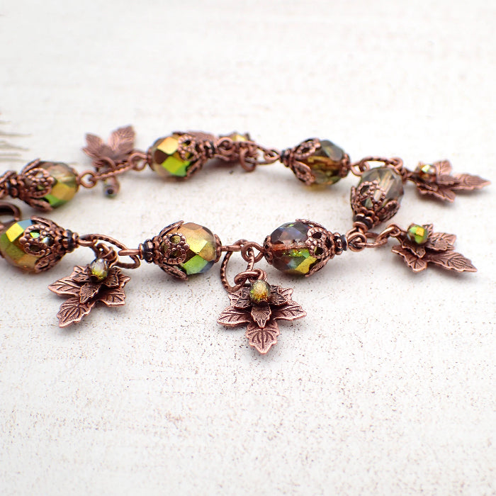 Iridescent Green and Antiqued Copper Autumn Maple Leaf Charm Bracelet