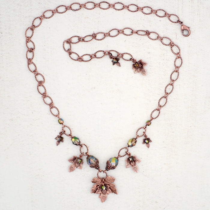 Iridescent Green and Antiqued Copper Autumn Maple Leaf Charm Necklace