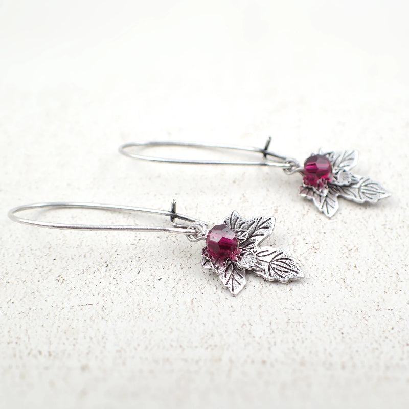 Antiqued Silver Maple Leaf Earrings with Ruby-Colored Swarovski Crystals