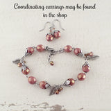 Dusty Rose Leafy Dangle Bracelet
