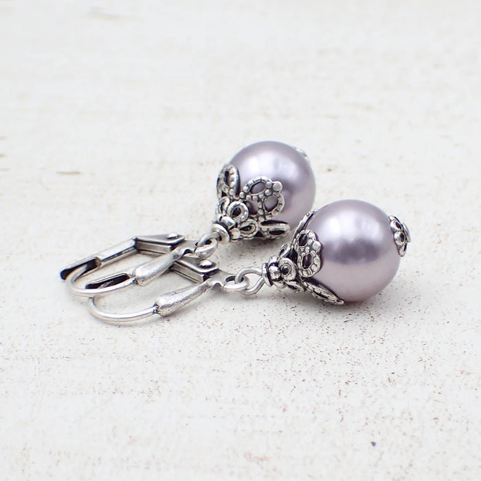 Lavender and Antique Silver Swarovski Pearl Drop Earrings