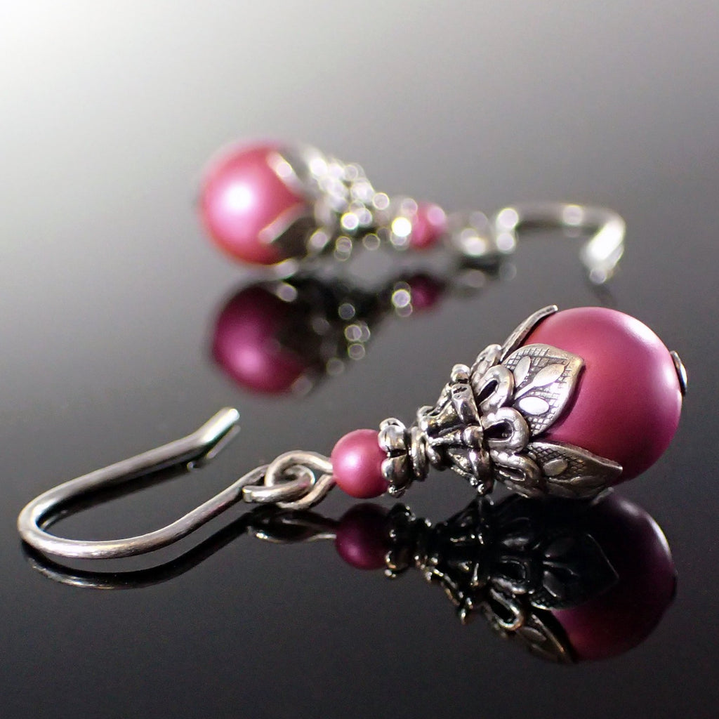 Vivid Pink Earrings with Antiqued Silver