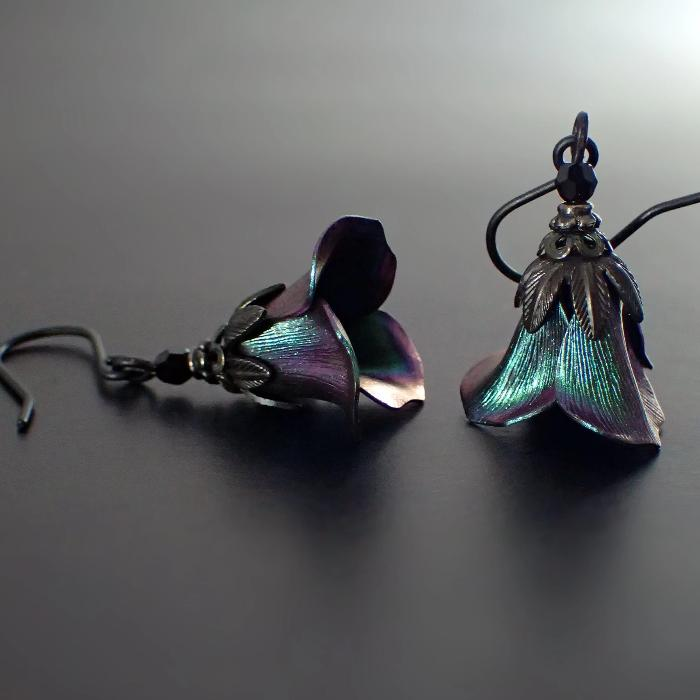 Iridescent Dark Color Shifting Flower Earrings