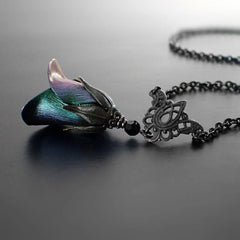 Iridescent Dark Color Shifting Flower Necklace