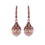 Victorian Style Earrings made with Pearlescent Pink Crystal Pearls
