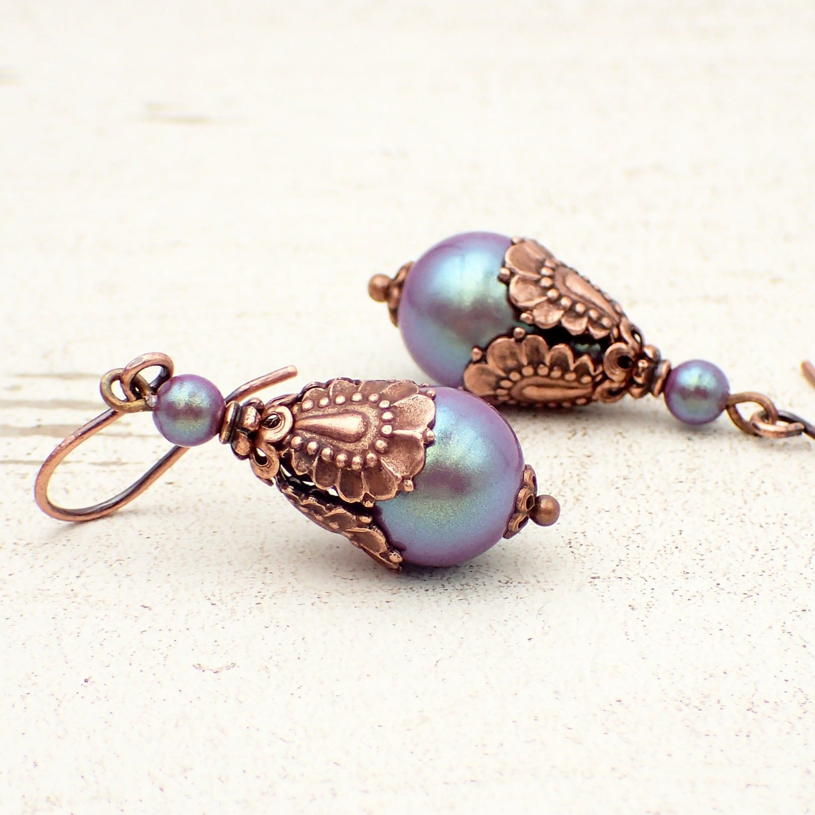 Victorian Style Earrings with Iridescent Purple Crystal Simulated Pearls and Antiqued Copper Details