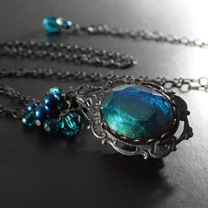 Gothic Victorian Teal and Black Necklace with Swarovski Crystals and Czech Glass