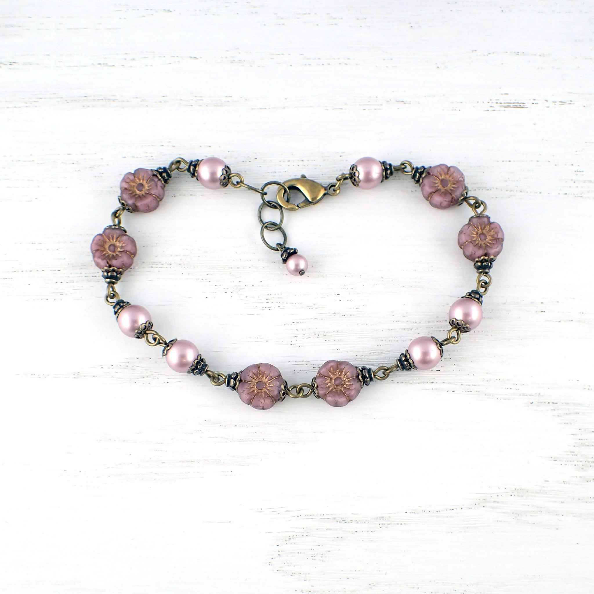 Powder Rose Flower and Swarovski Pearl Bracelet