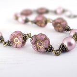 Powder Rose Flower and Swarovski Pearl Bracelet - close up view