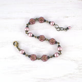 Powder Rose Flower and Swarovski Pearl Bracelet view 2