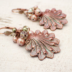 Shimmering Pink and Green Seashell Lever Back Earrings with Swarovski Crystals