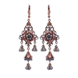 Neo Victorian Chandelier Flower Earrings with Purple Czech Glass Flower Beads