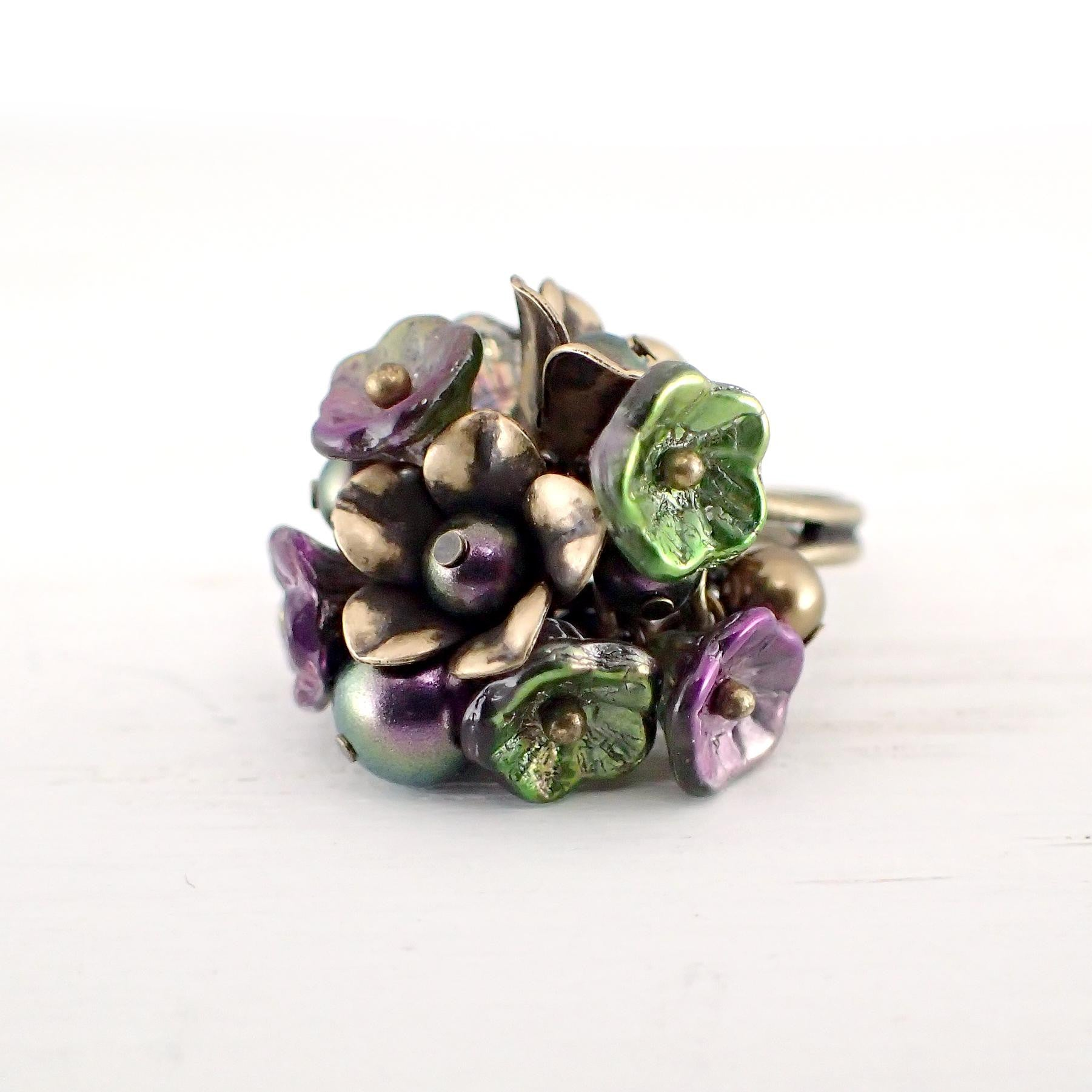 Iridescent Purple and Green Flower Cluster Ring