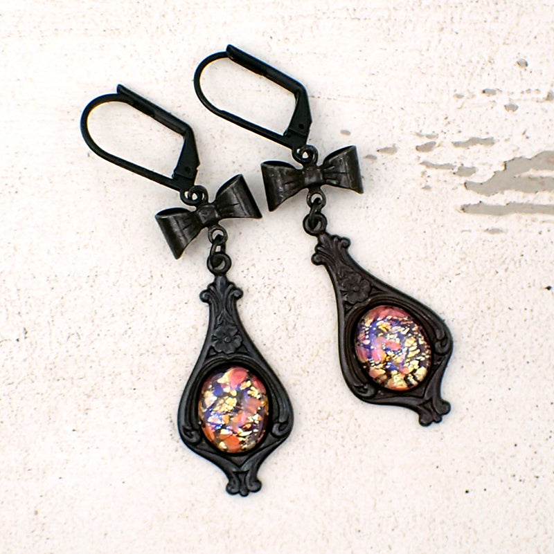 Gothic Lolita Black Brass Cabochon Earrings with Bows