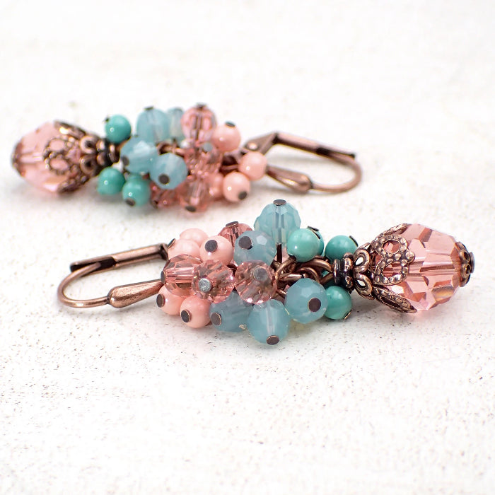 Peach and Mint Cluster Earrings with Swarovski Crystals