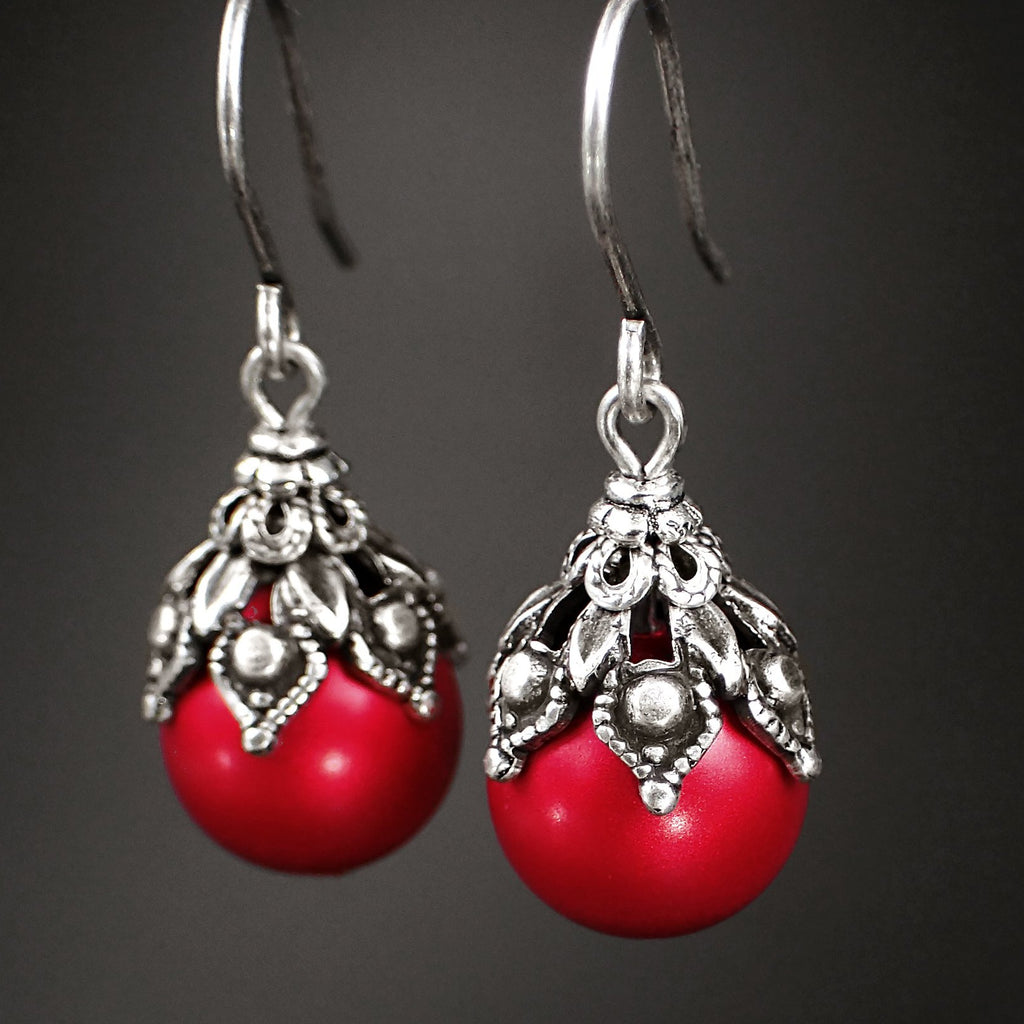 Victorian Style Earrings made with Red Swarovski Pearls and Antiqued Silver Filigree