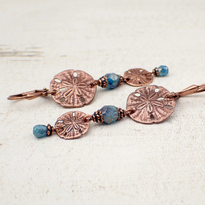 Long Sand Dollar Dangle Earrings with Lustered Ocean Blue Czech Glass Beads