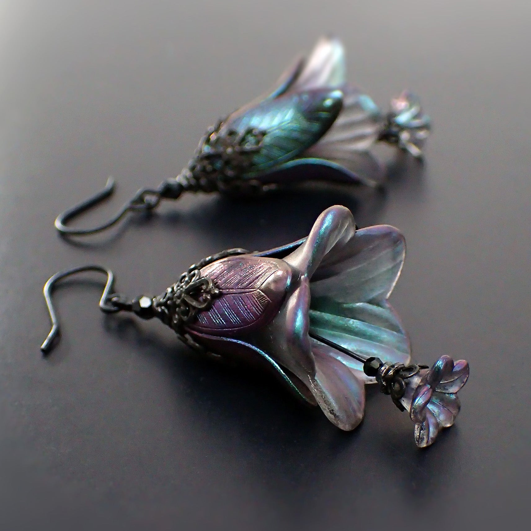 Dark Color Shifting Lucite Flower Earrings Night Elf Fairy jewelry