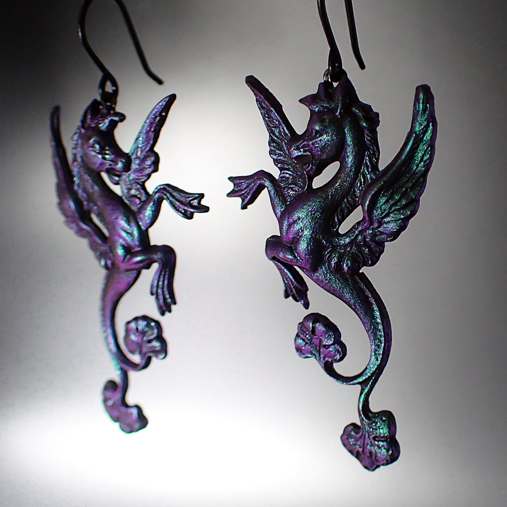 Iridescent Dark Color Shifting Mythological Seahorse Earrings