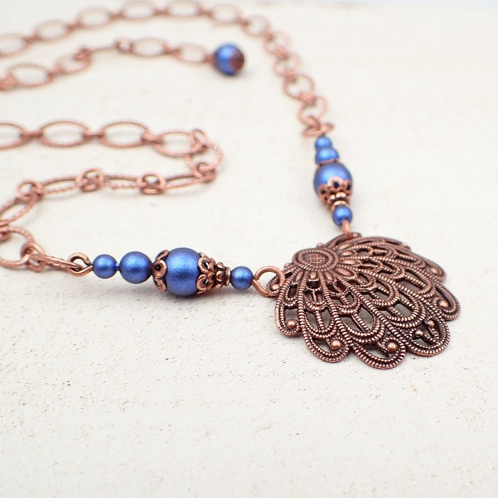 Copper Filigree Seashell Necklace with Blue Crystal Simulated Pearls