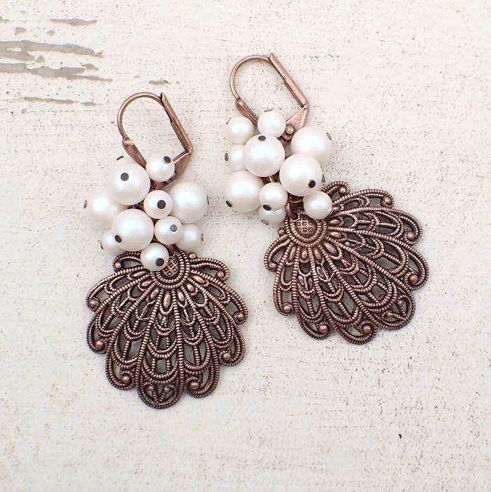 Copper Seashell Filigree Cluster Earrings with Pearlescent White Crystal Pearls