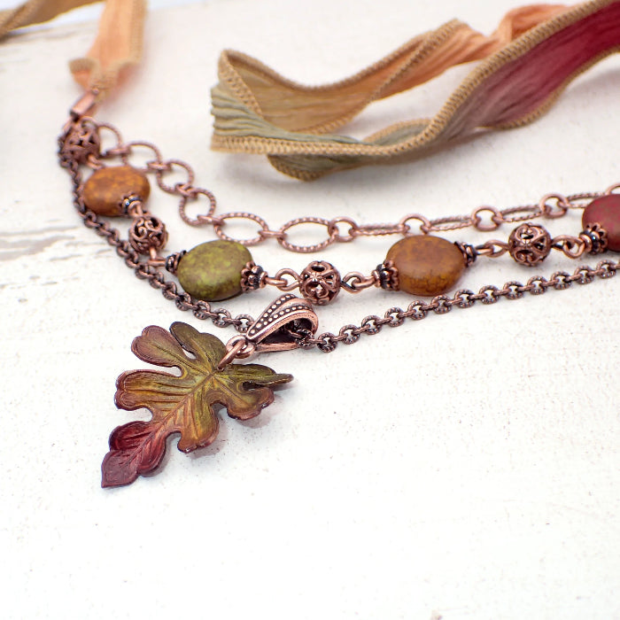 Autumn Oak Leaf Necklace with Antiqued Copper Chain, Hand Dyed Silk Tie, and Artisan Czech Glass Beads
