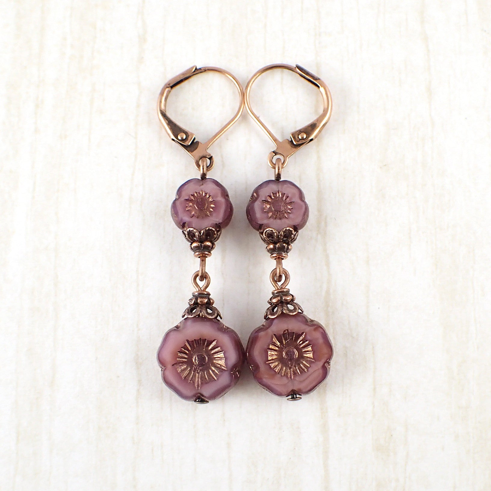 product lampwork idea boho fireworks handmade copper purple jewelry flower coral women earrings red floral for gift