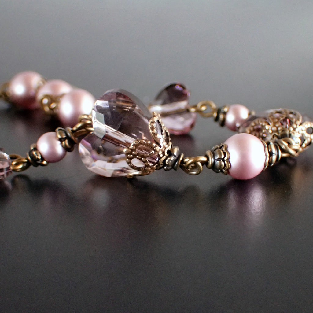 Antique Pink Swarovski Crystal Heart Bracelet